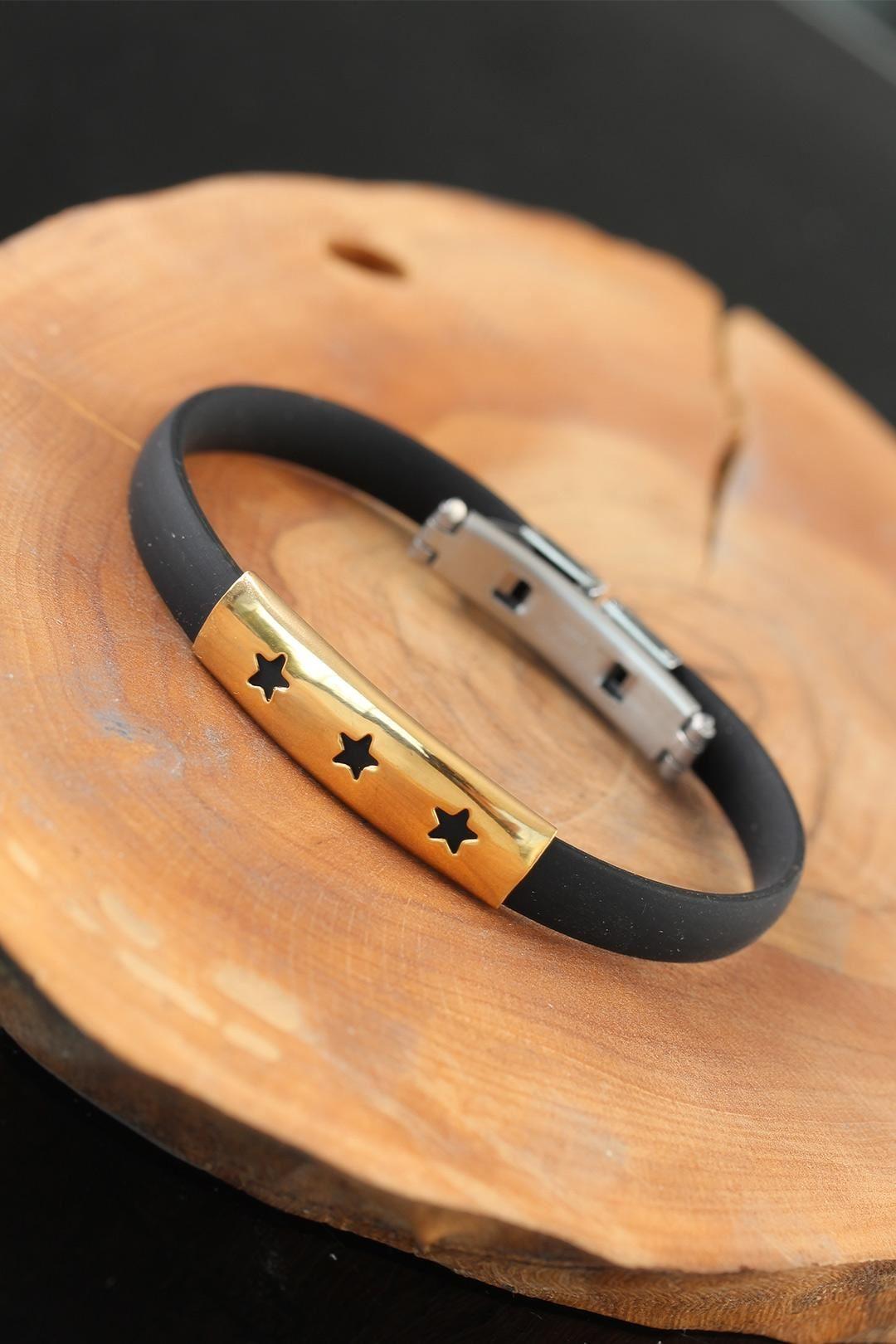 Gold Renk Metal Yıldızlı Tasarım Siyah Renk Silikon Erkek Bileklik