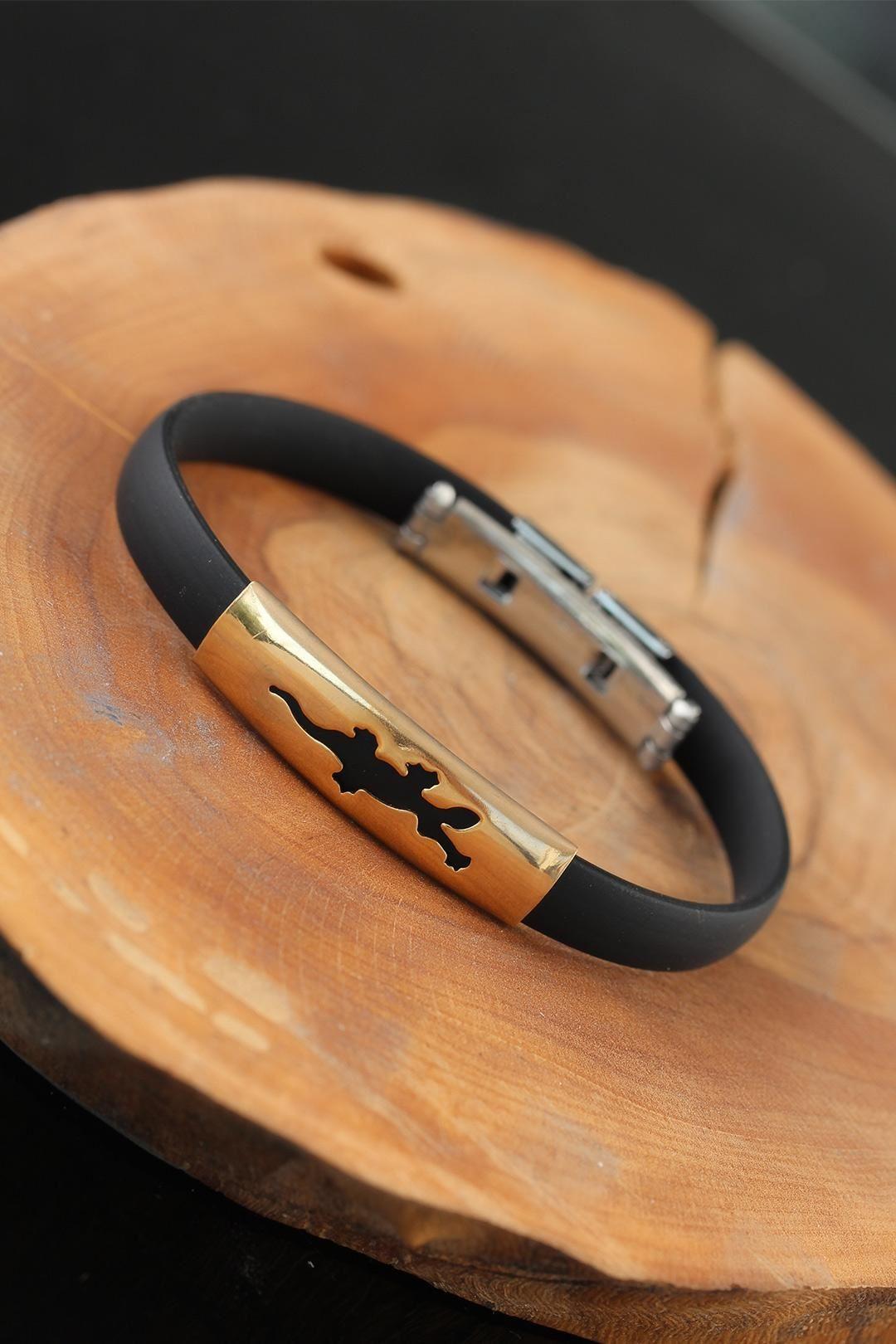 Gold Renk Metal Timsah Tasarım Siyah Renk Silikon Erkek Bileklik