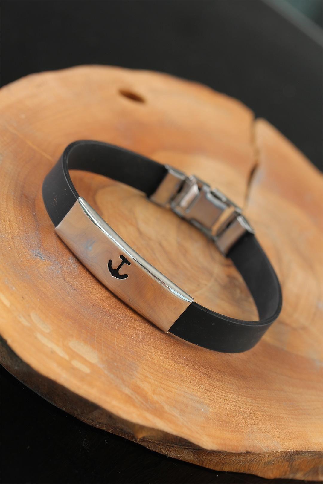 Silver Renk Metal Deniz Çapası Tasarım Siyah Renk Silikon Erkek Bileklik