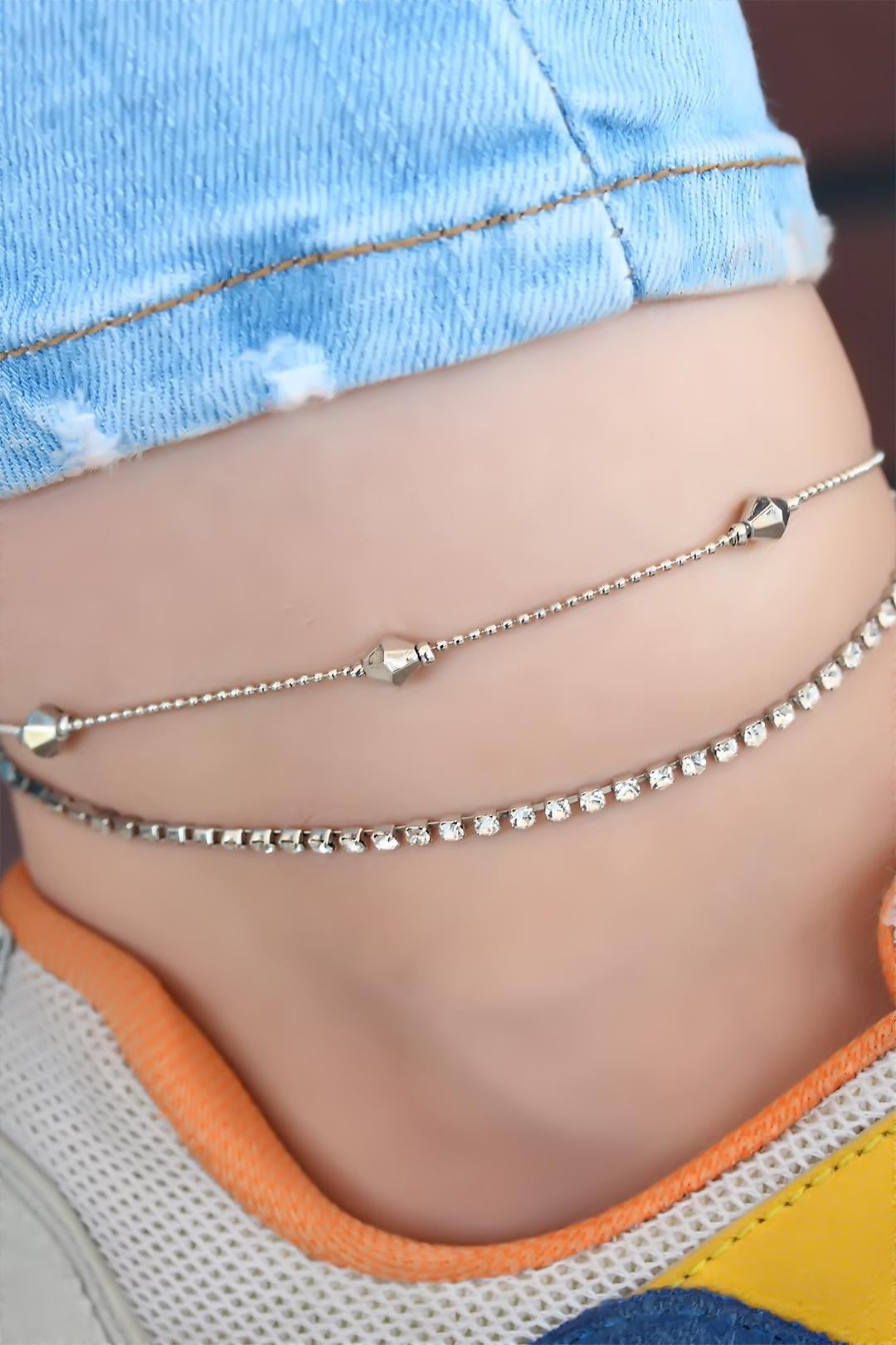 Çift Zincir Silver Renk Halhal