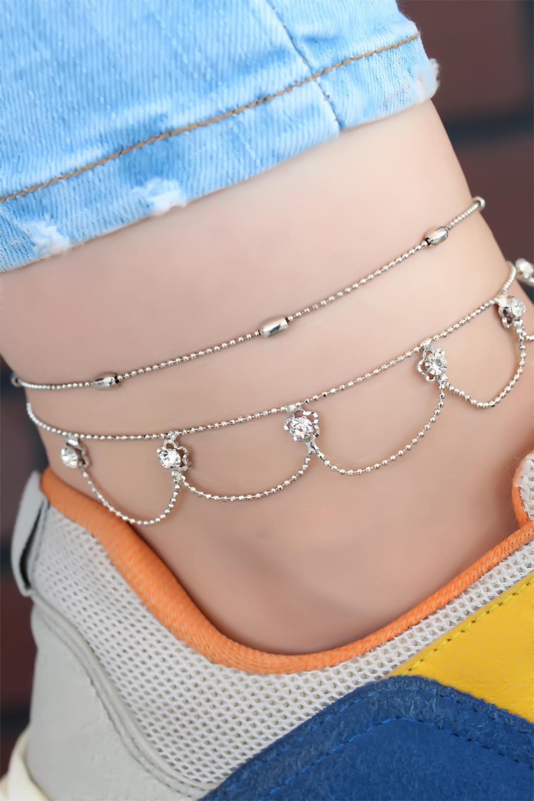 Sarkıt Model Çift Zincir Silver Renk Halhal