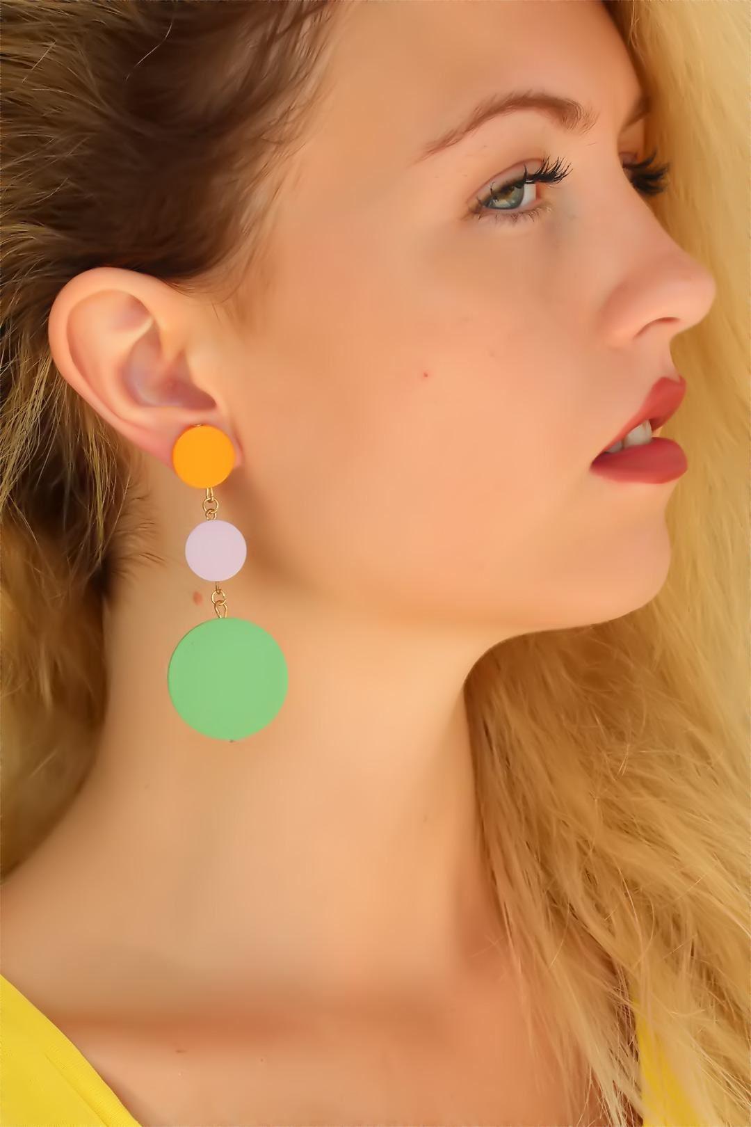 Mor Turuncu Yeşil Renk Bayan Sallantı Küpe
