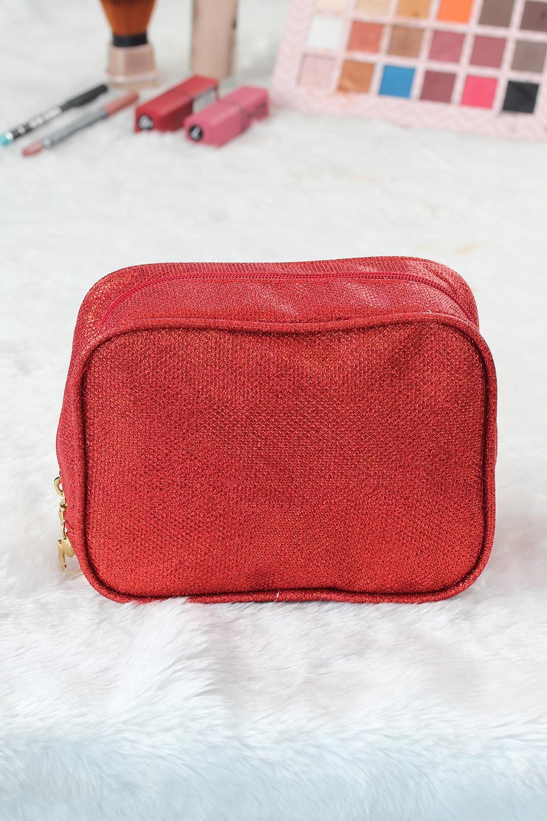 Simli Kırmızı Kare Form Makyaj Çantası