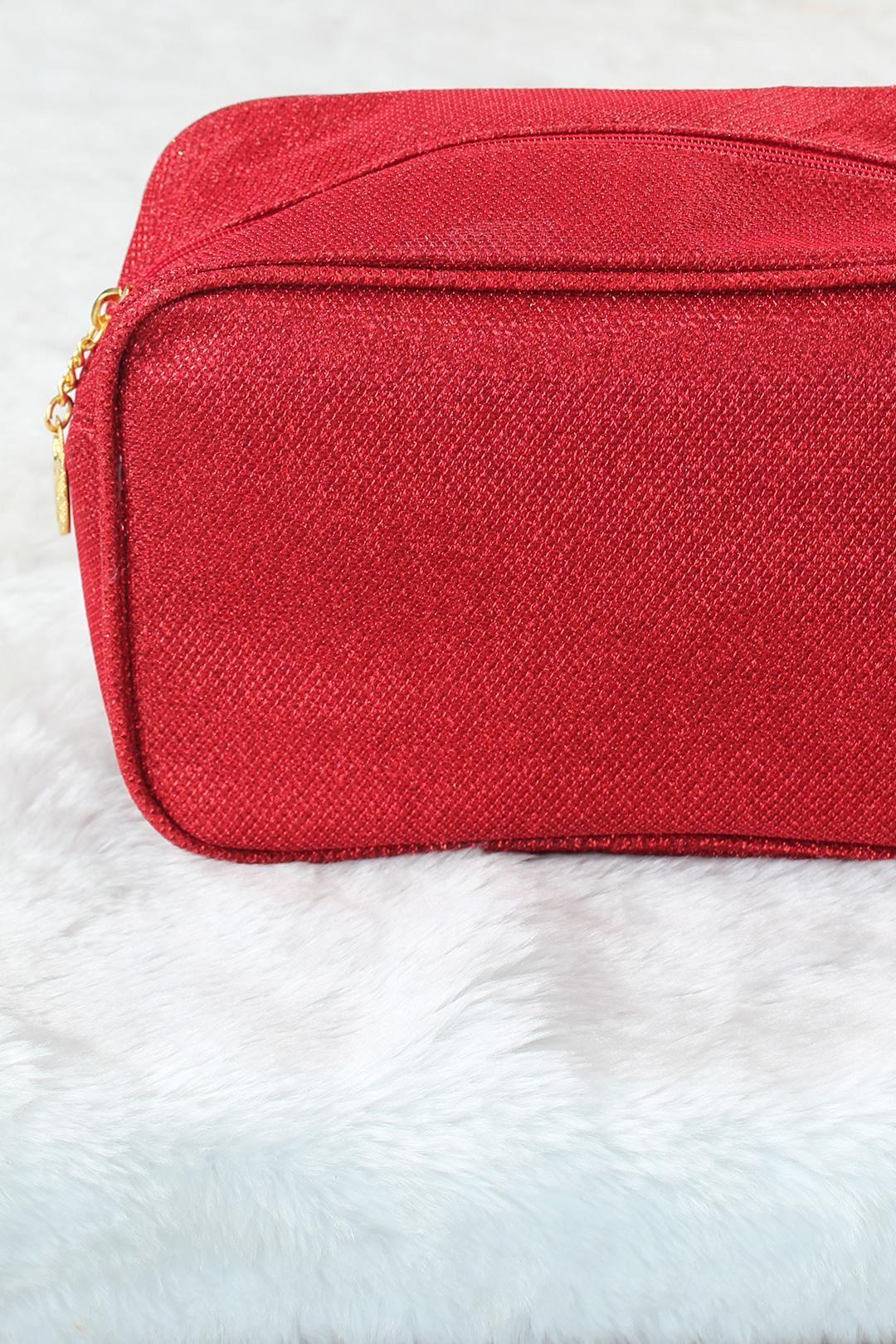Simli Kırmızı Renk Kare Form Makyaj Çantası