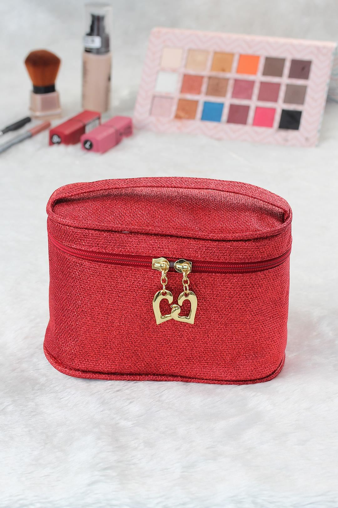 Kırmızı Renk Simli Makyaj Çantası