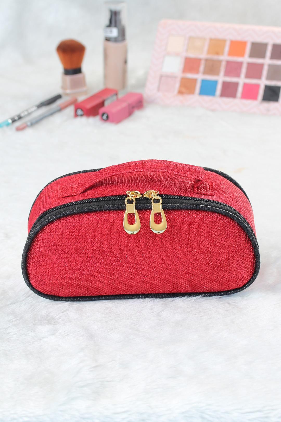 Simli Kırmızı Renk Makyaj Çantası