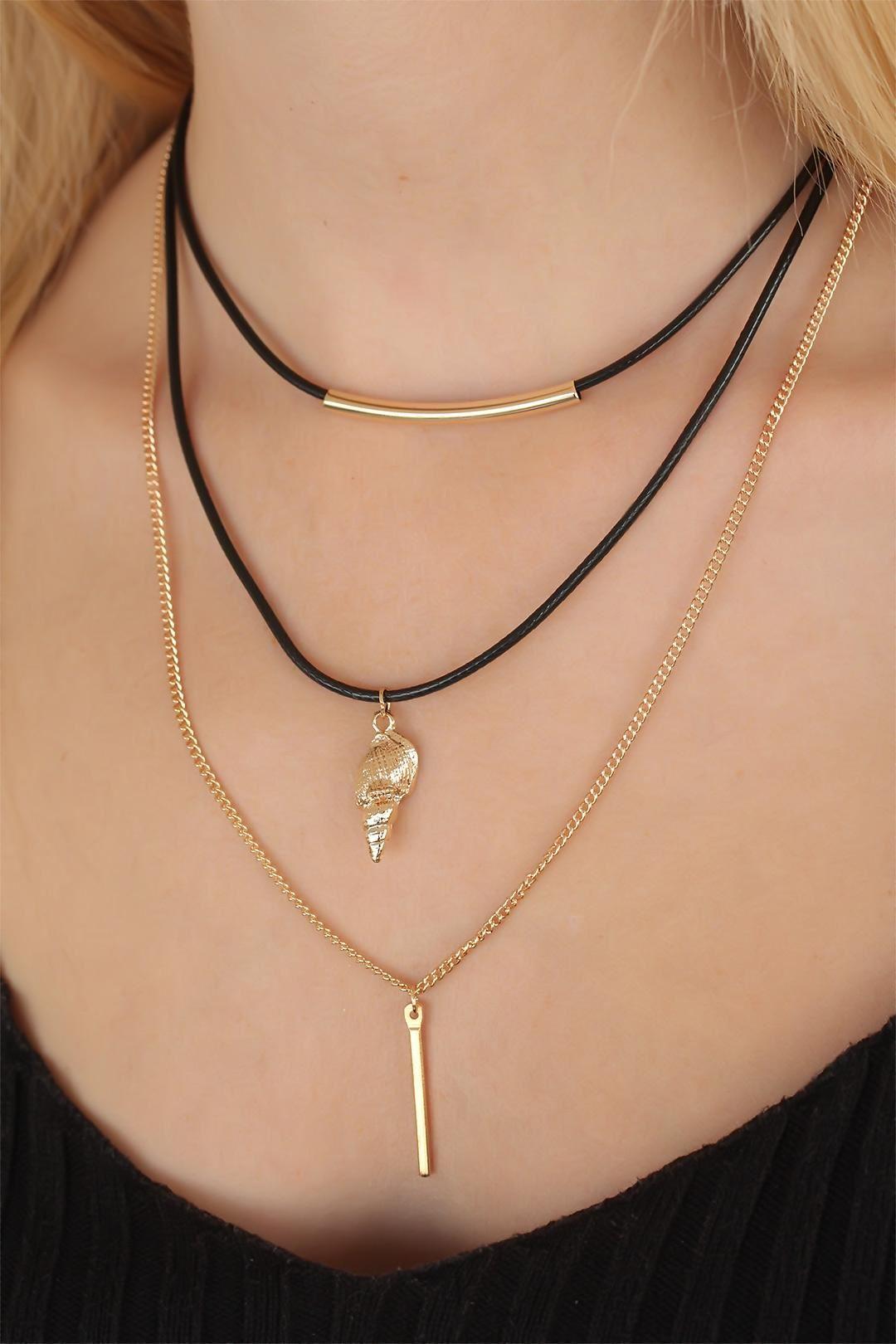 Deniz Kabuklu Gold Renk Üçlü Bayan Kolye