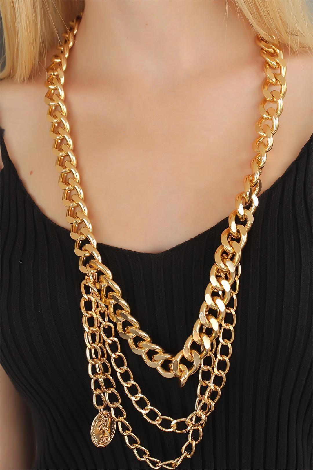 Gold Renk Çoklu Bayan Zincir Kolye