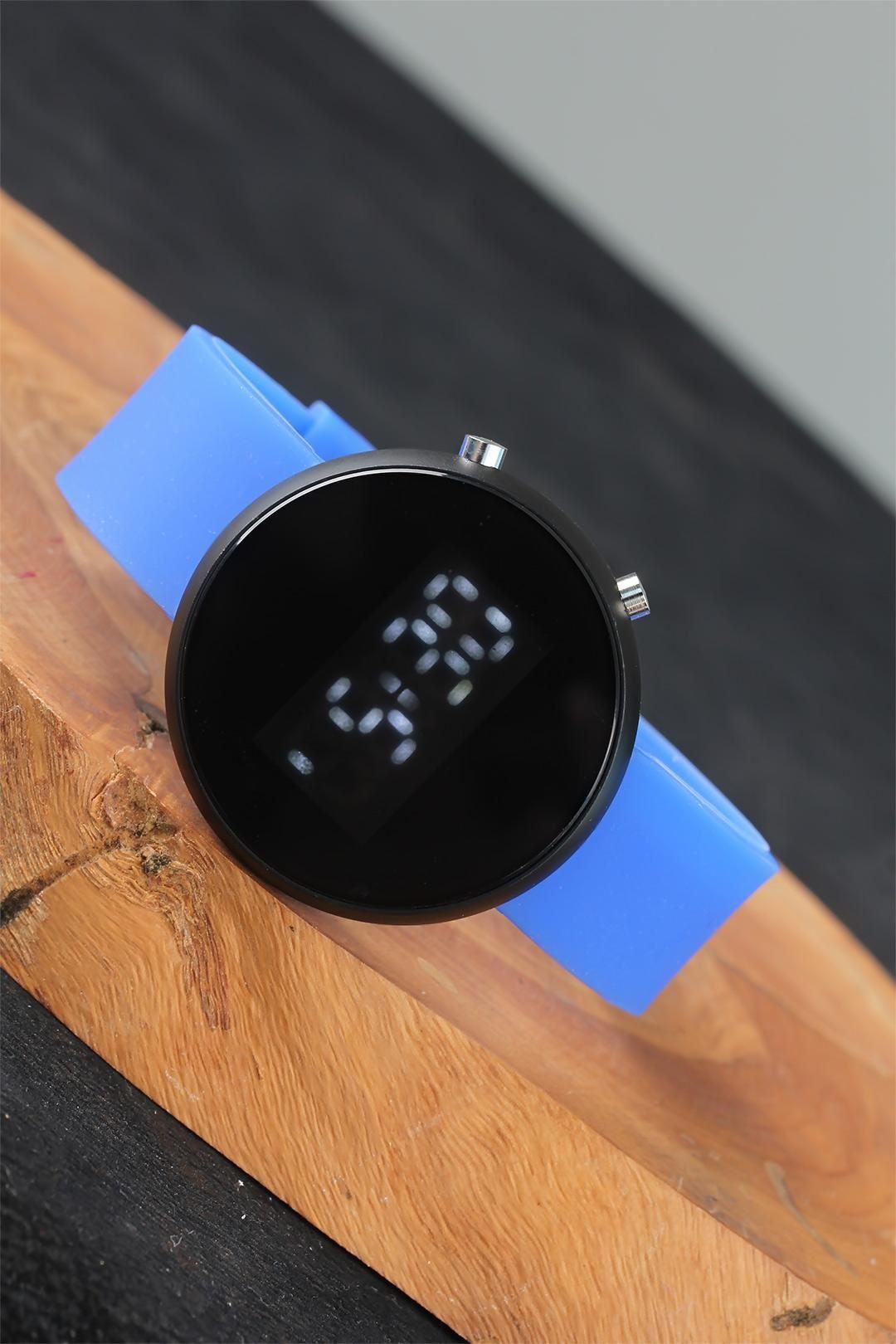 Yuvarlak Dijital Led Ekran Mavi Silikon Kordonlu Unisex Saat