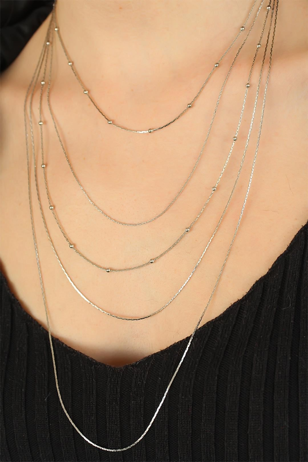 Silver Renk Zincirli Bayan Çoklu Kolye