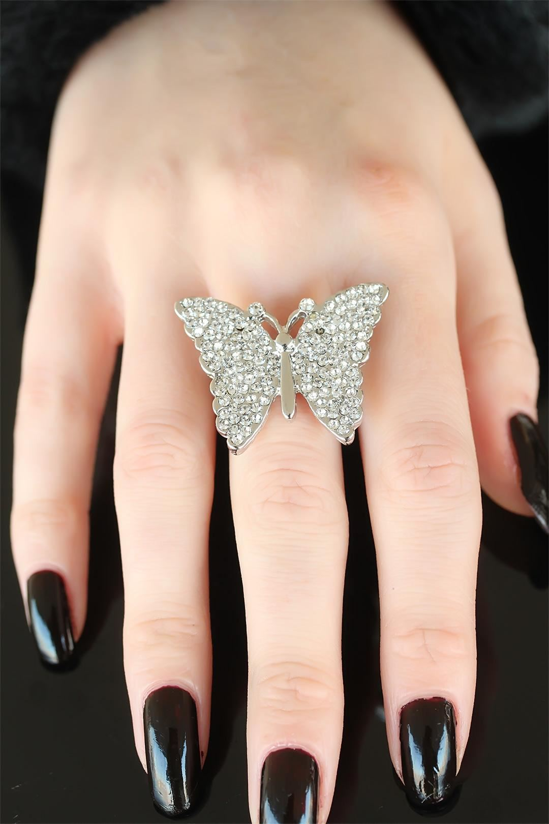 Silver Renk Taşlı Kelebek Bayan Ayarlamalı Yüzük