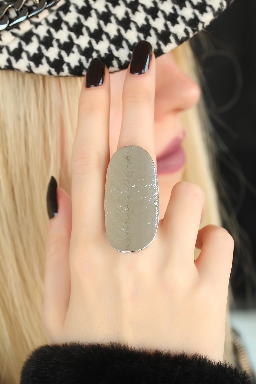 Silver Renk Elips Bayan Ayarlamalı Yüzük