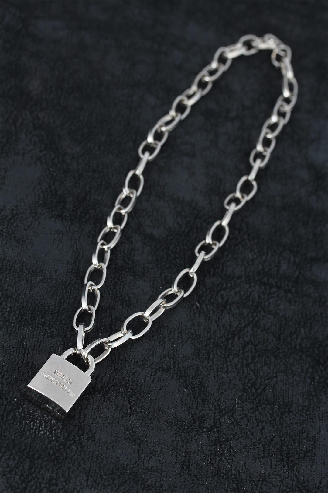 Silver Renk Metal Zincirli ve Kilitli Erkek Kolye