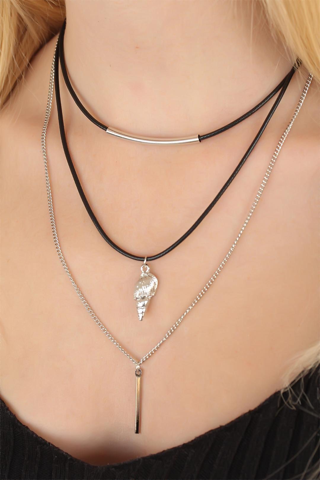 Deniz Kabuklu Silver Renk Üçlü Bayan Kolye