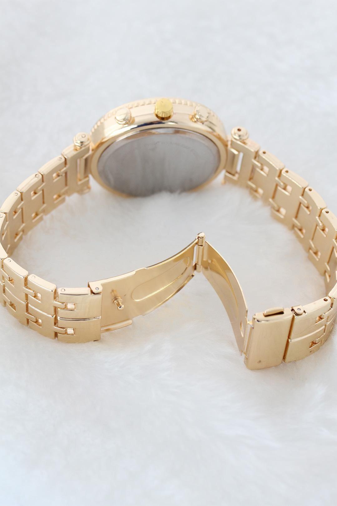 Taşlı Kasa Gold Renk Metal Kordonlu Bayan Kol Saati