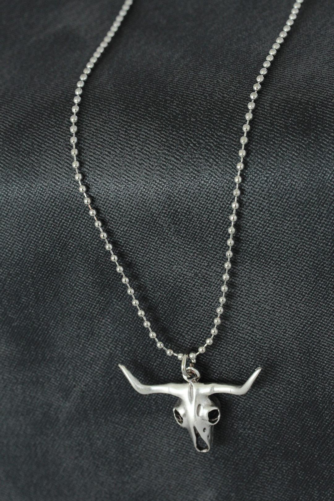 Öküz Kafatası Tasarımlı Metal Erkek Kolye