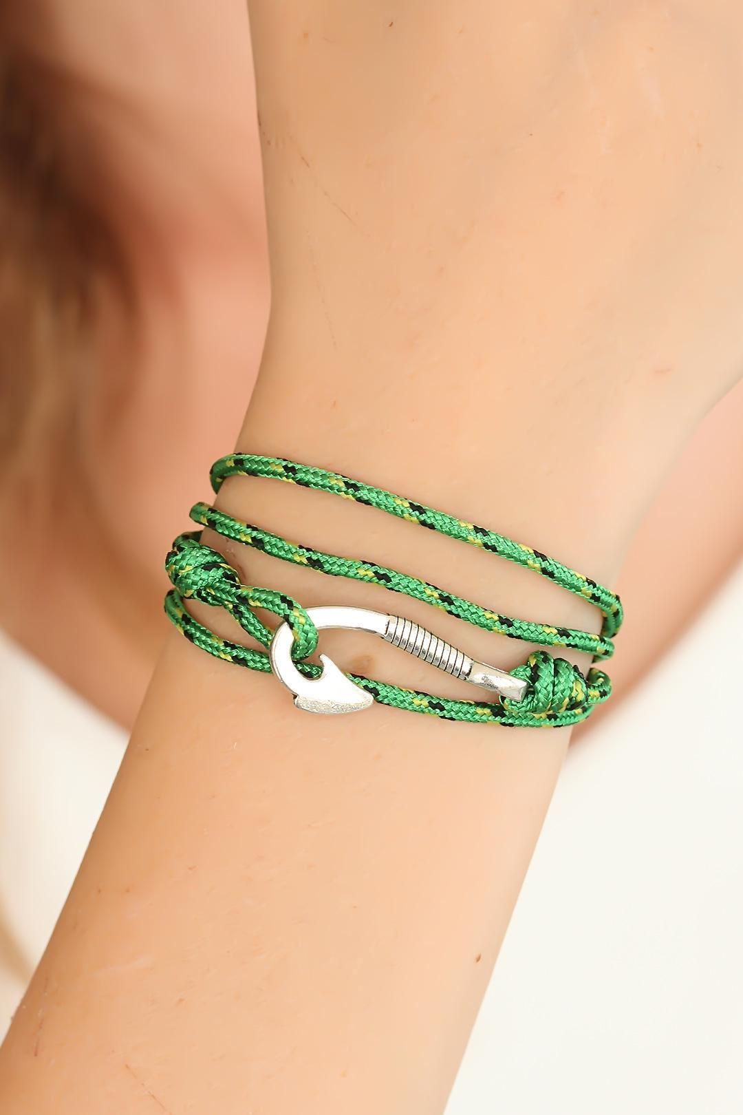 Yeşil Gümüş Metal Kancalı Bayan Çoklu Bileklik