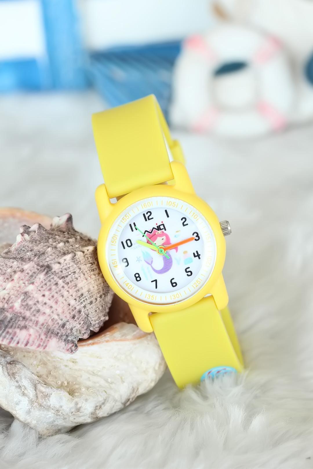 Sarı Renk Silikon Kordonlu Mici Çocuk Saati