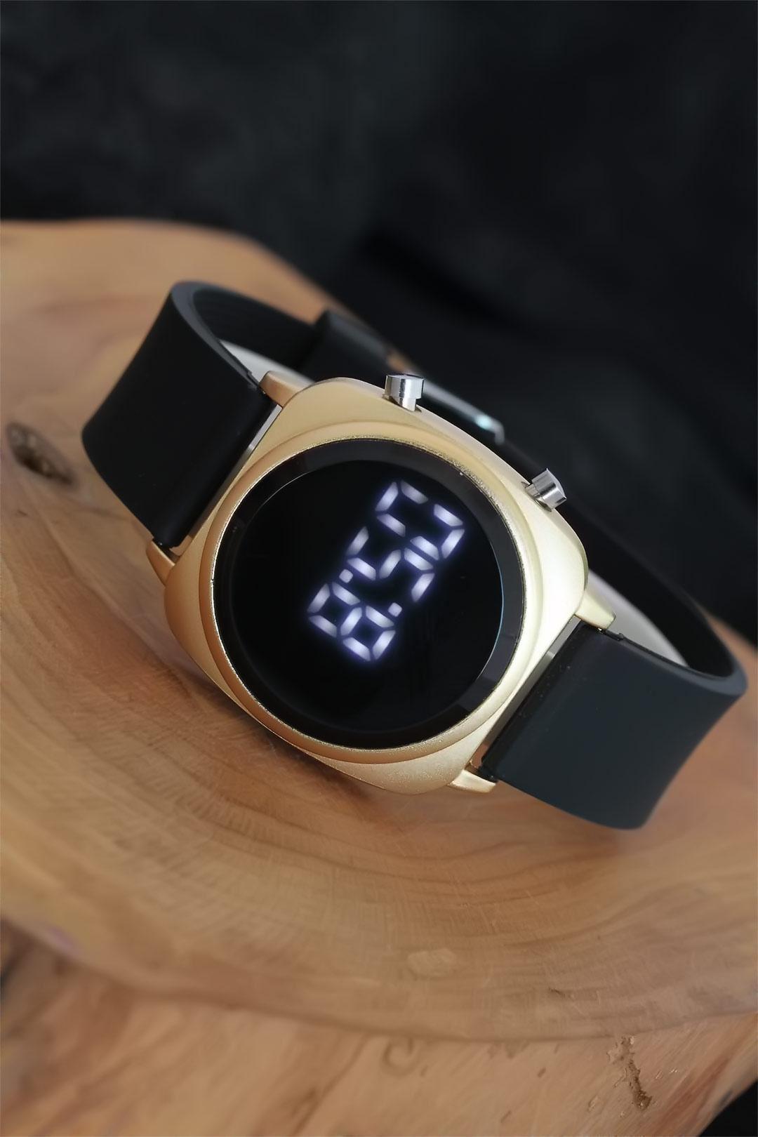 Gold Metal Kasa Siyah Silikon Kordonlu Dijital Led Erkek Kol Saati