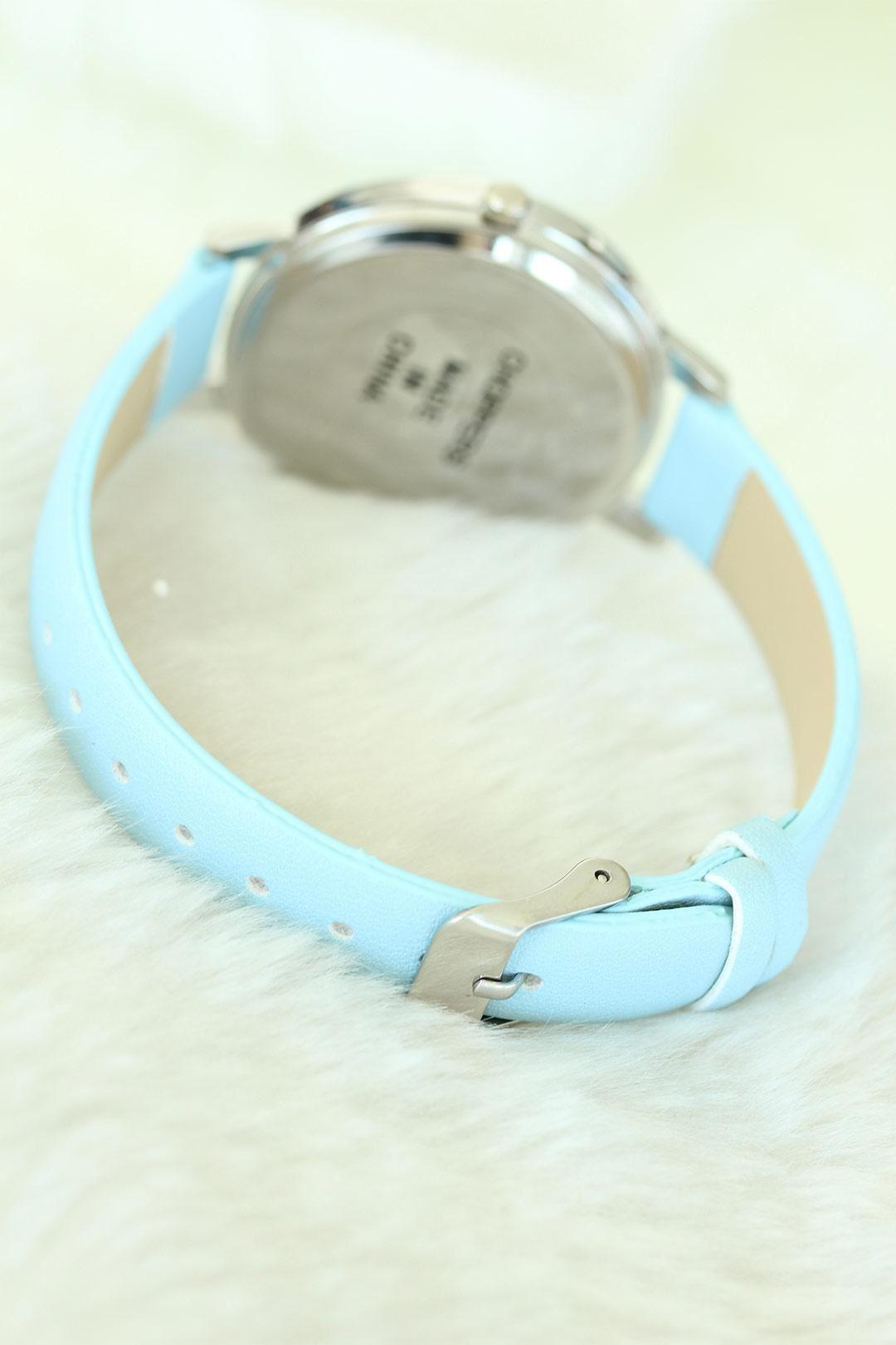 Mavi Renk Deri Kordonlu Silver Kasa Bayan Saat