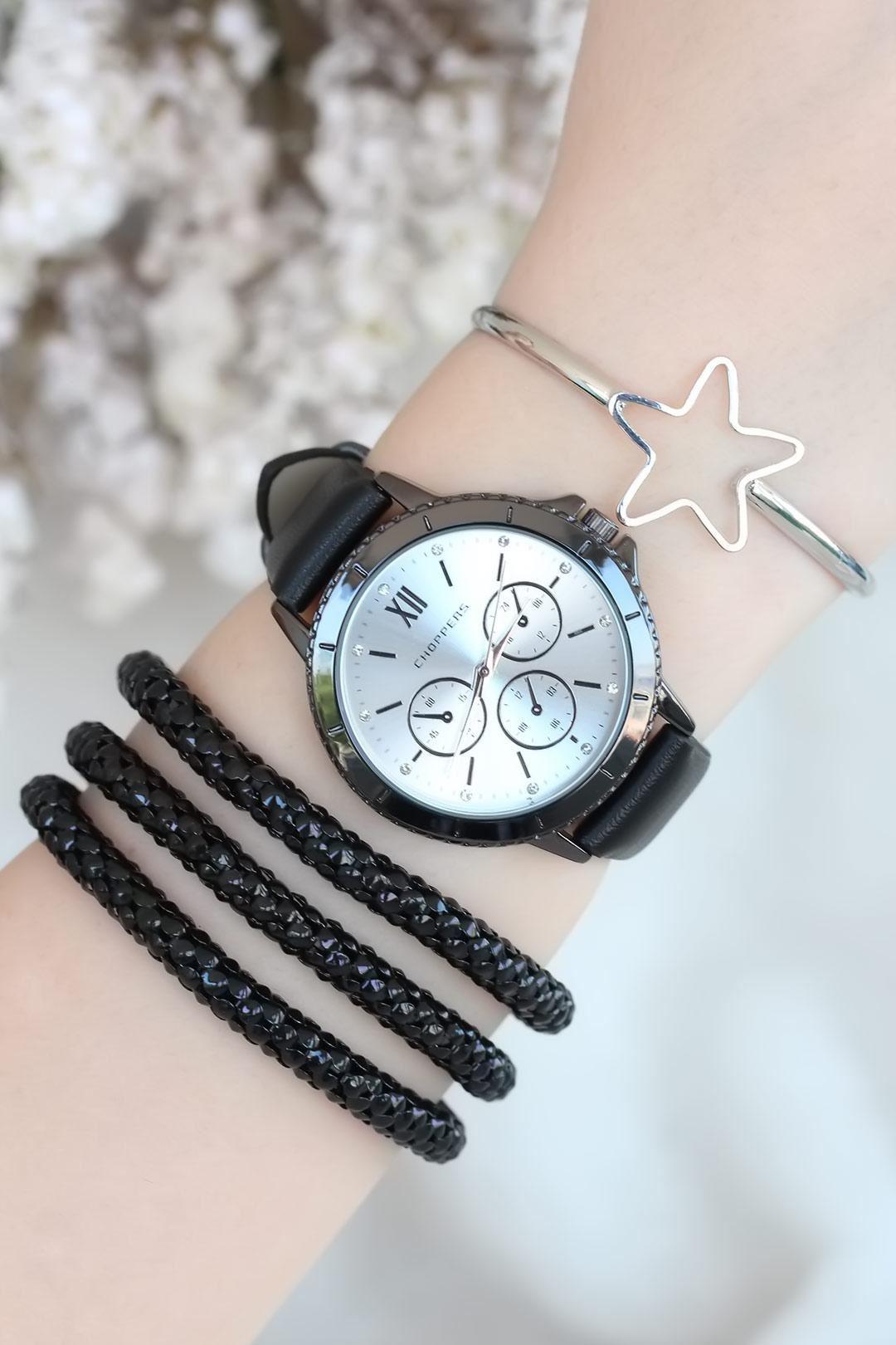 Siyah Deri Kordonlu Bayan Saat Kombini