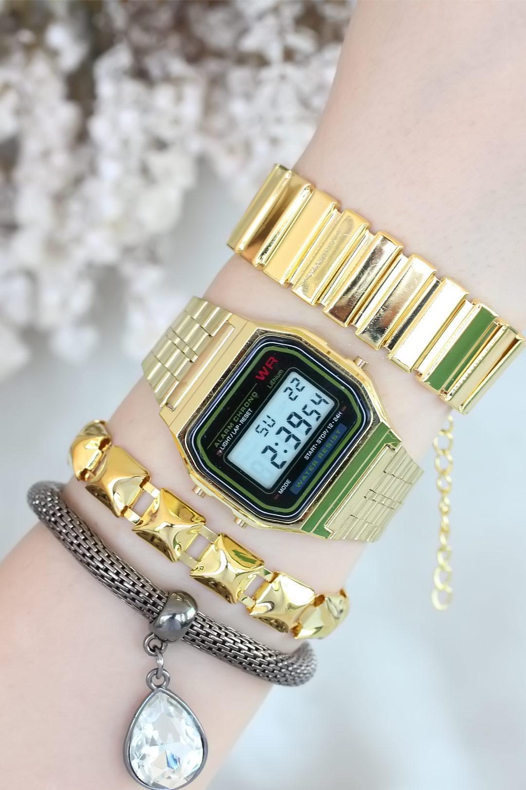 Gold Kasa Metal Kordonlu Bayan Saat Ve Bileklik Kombini