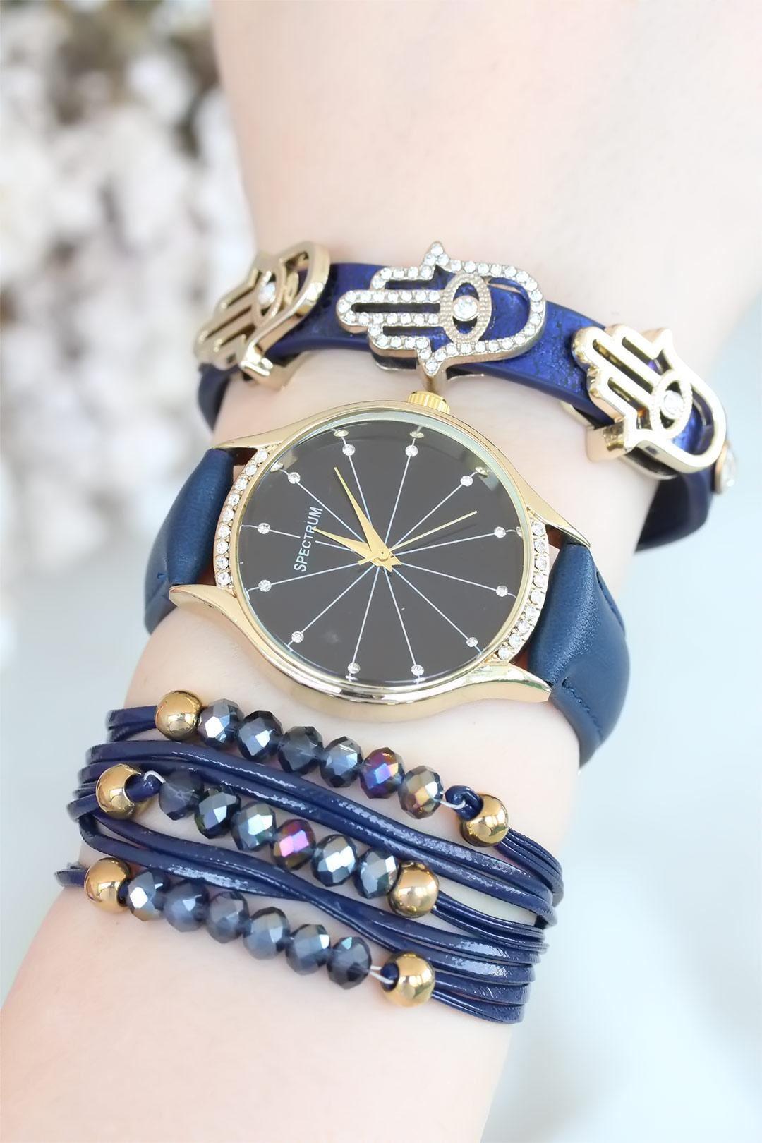 Lacivert Renk Deri Kordonlu Bayan Saat Kombini