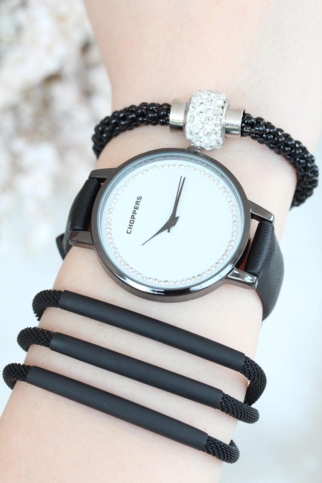 Siyah Deri Kordonlu Bayan Saat Ve Bİleklik Kombini