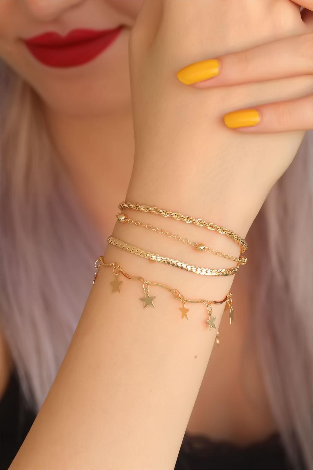 Gold Renk Çoklu Yıldız Bayan Bileklik