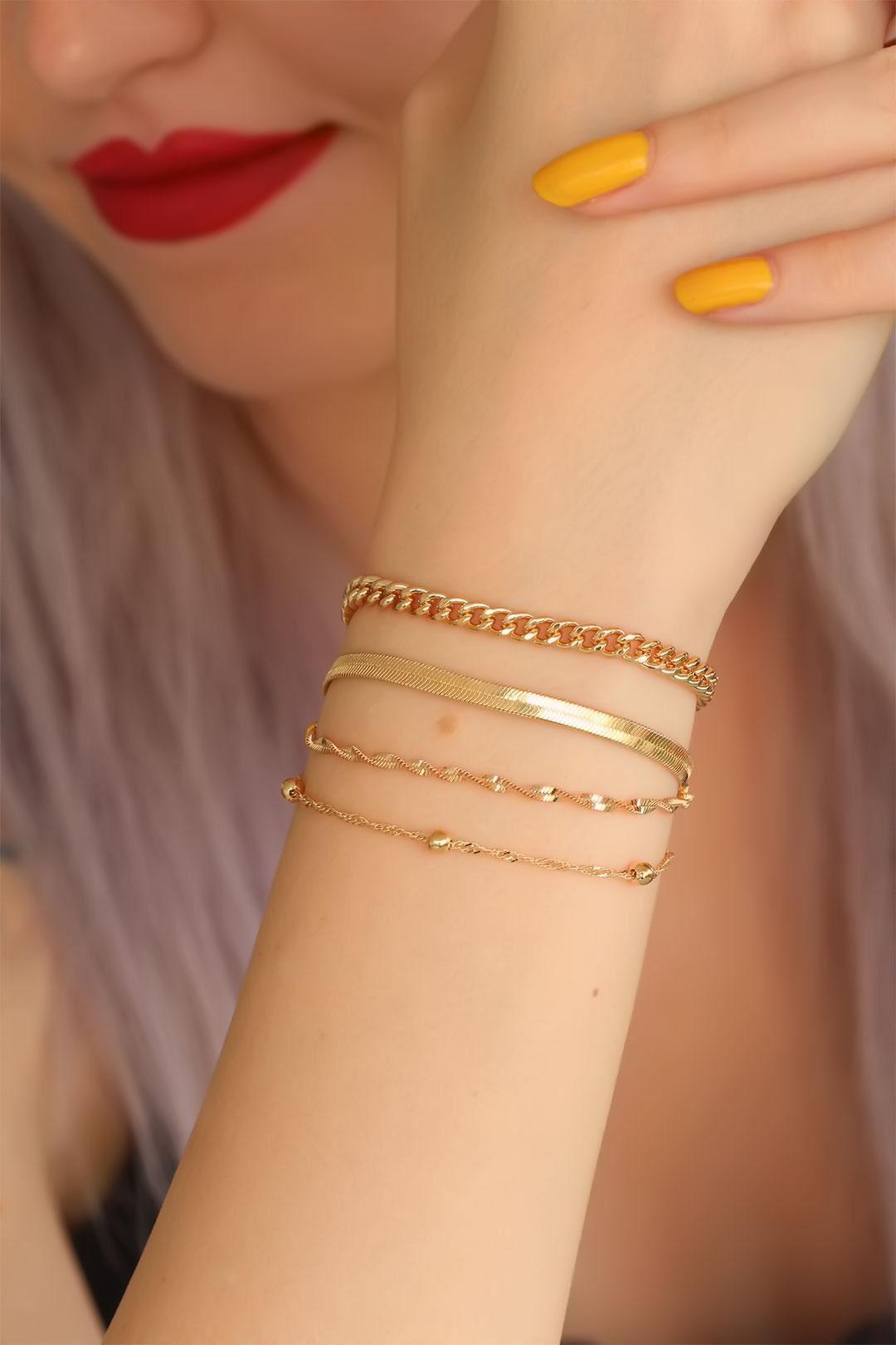 Gold Renk Çoklu Bayan Bileklik