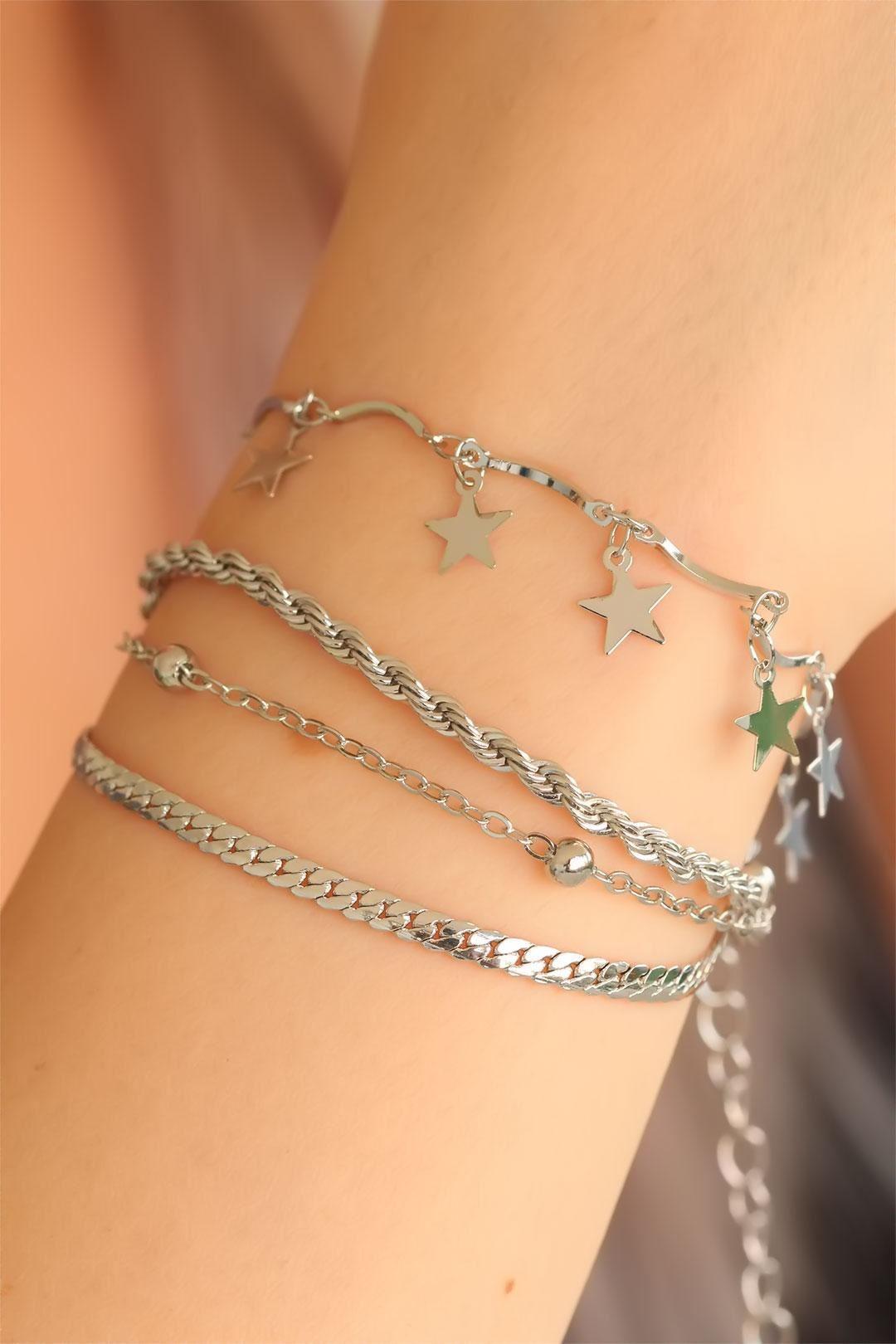 Silver Renk Çoklu Yıldız Bayan Bileklik