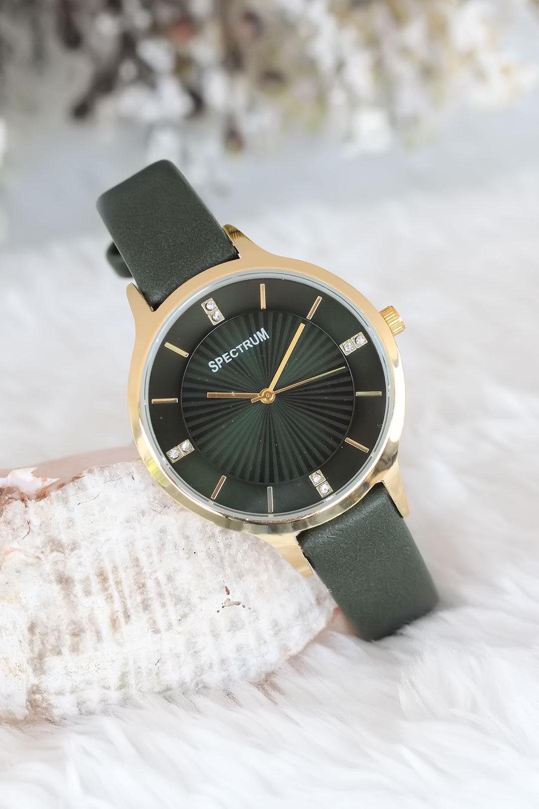 Gold Kasa Yeşil Renk Deri Kordonlu Bayan Saat
