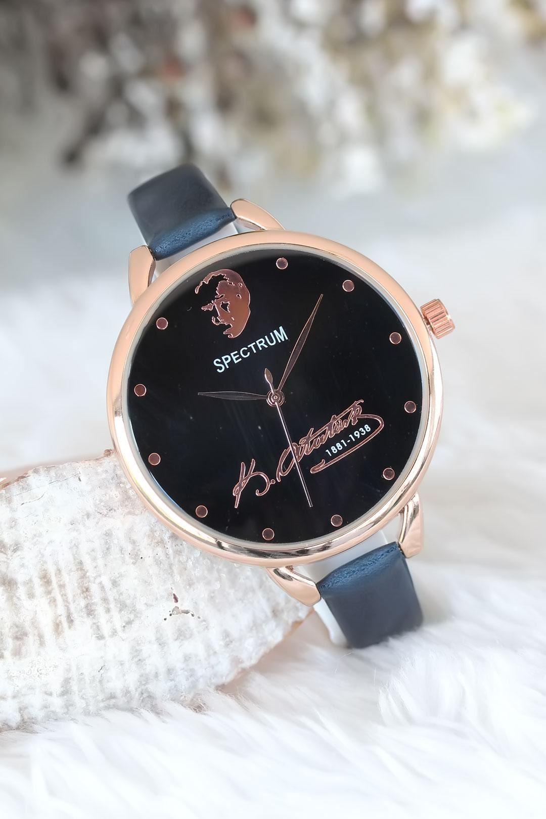 Rose Kasa Atatürk İmzalı Lacivert Renk Deri Kordonlu Bayan Saat