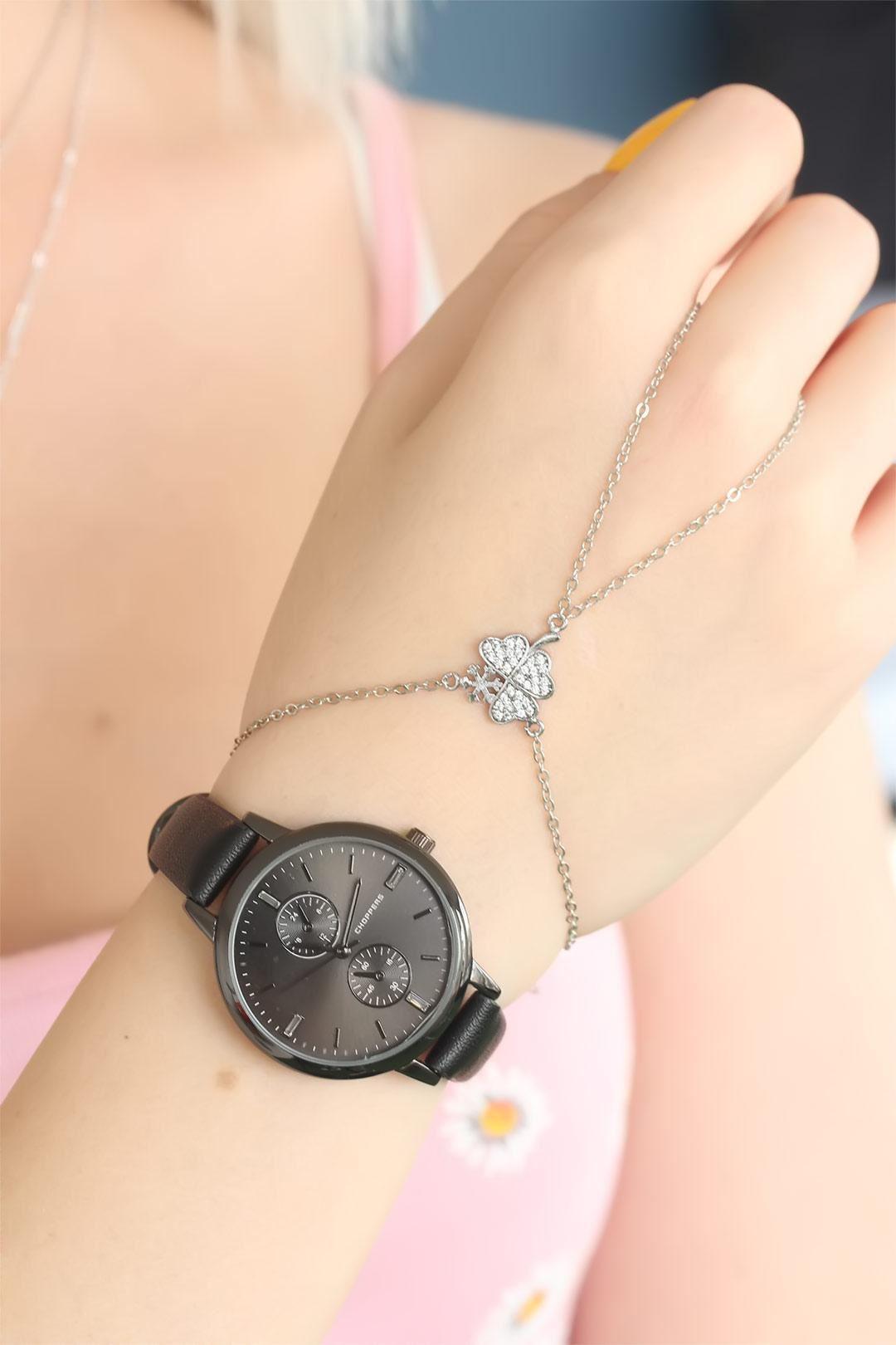 Siyah Renkli Bayan Saat Kolye ve Şahmeran Bileklik Seti