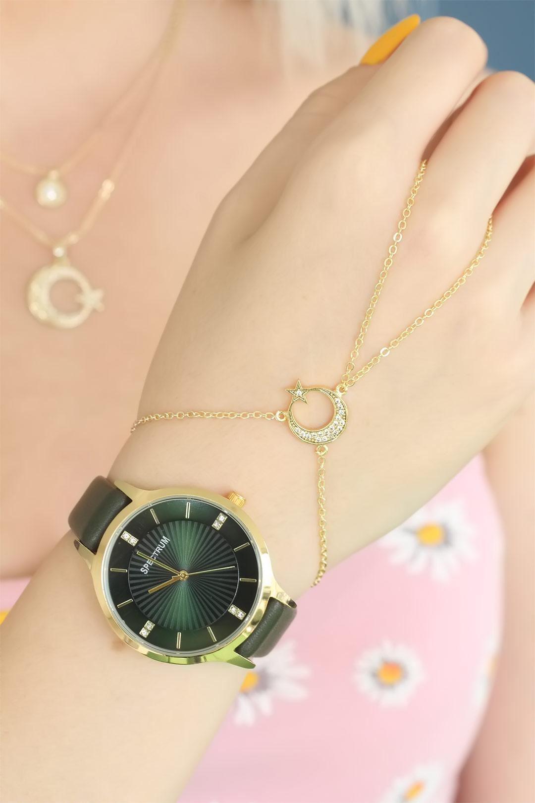 Yeşil Renkli Deri Kordon Bayan Saat Kolye ve Şahmeran Bileklik Seti