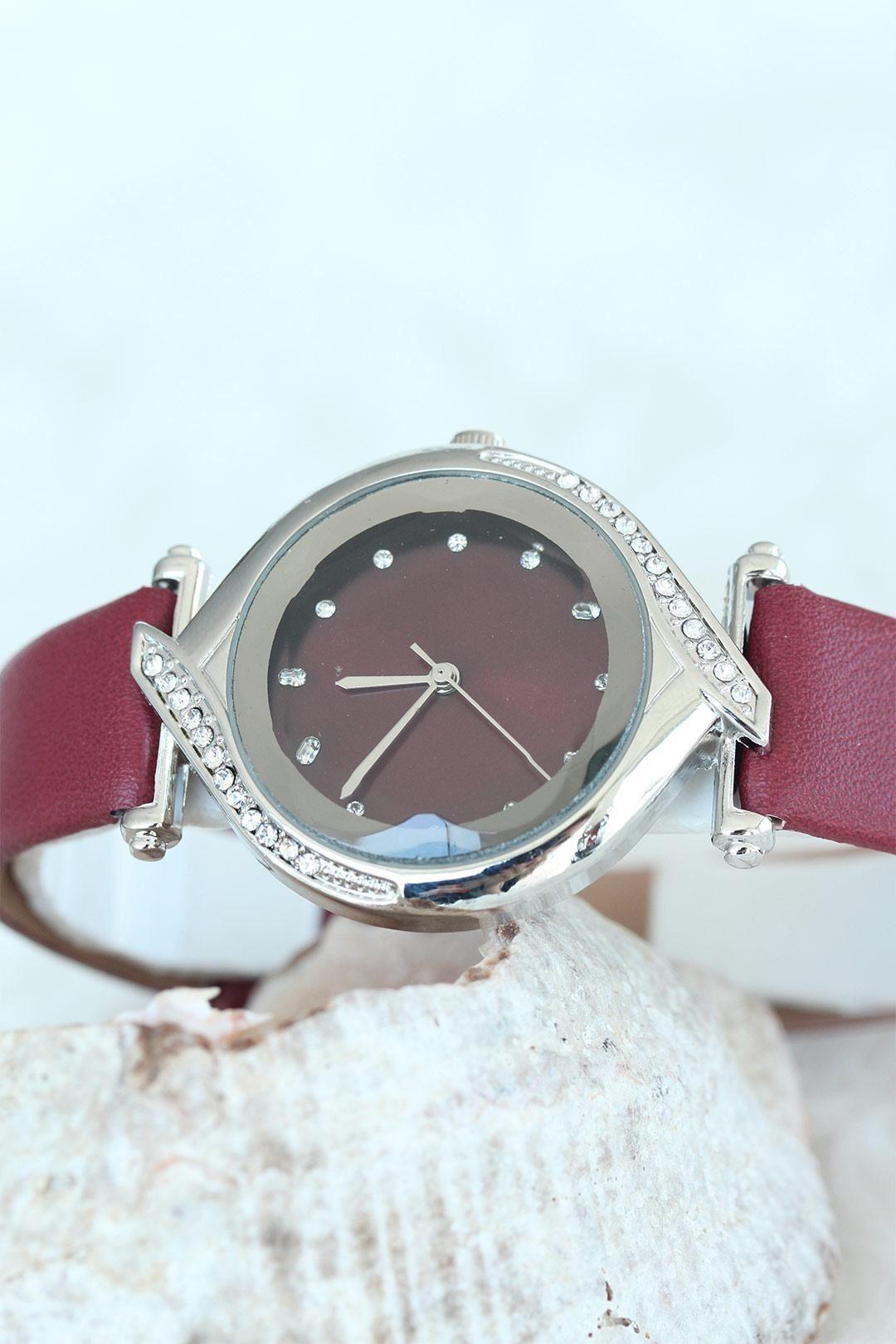 Taşlı Silver Kasalı Bordo Deri Kordon Bayan Saat