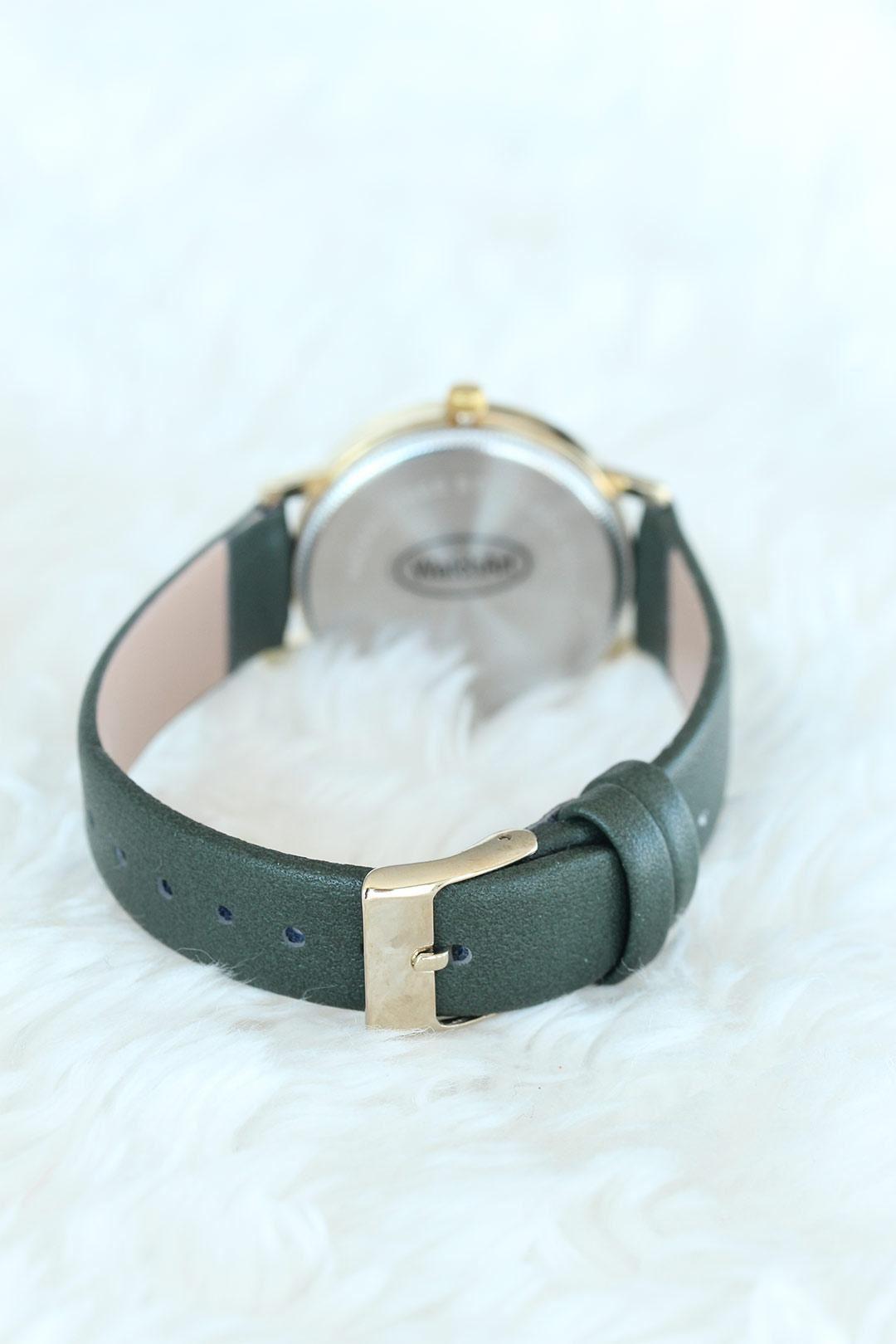 Yeşil Deri Kordon Gold Kasalı Bayan Saat