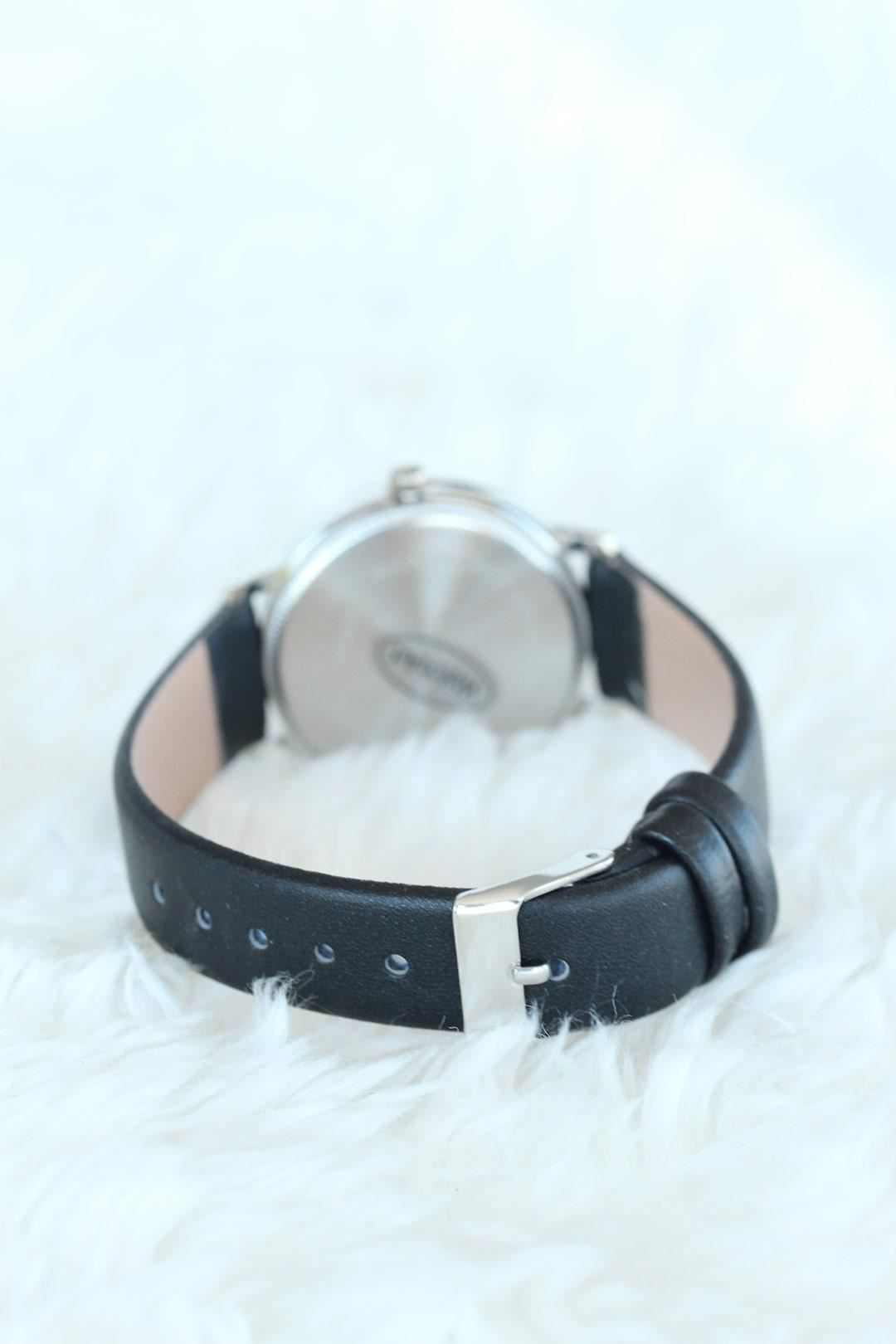 Siyah Deri Kordon Silver Kasalı Bayan Saat