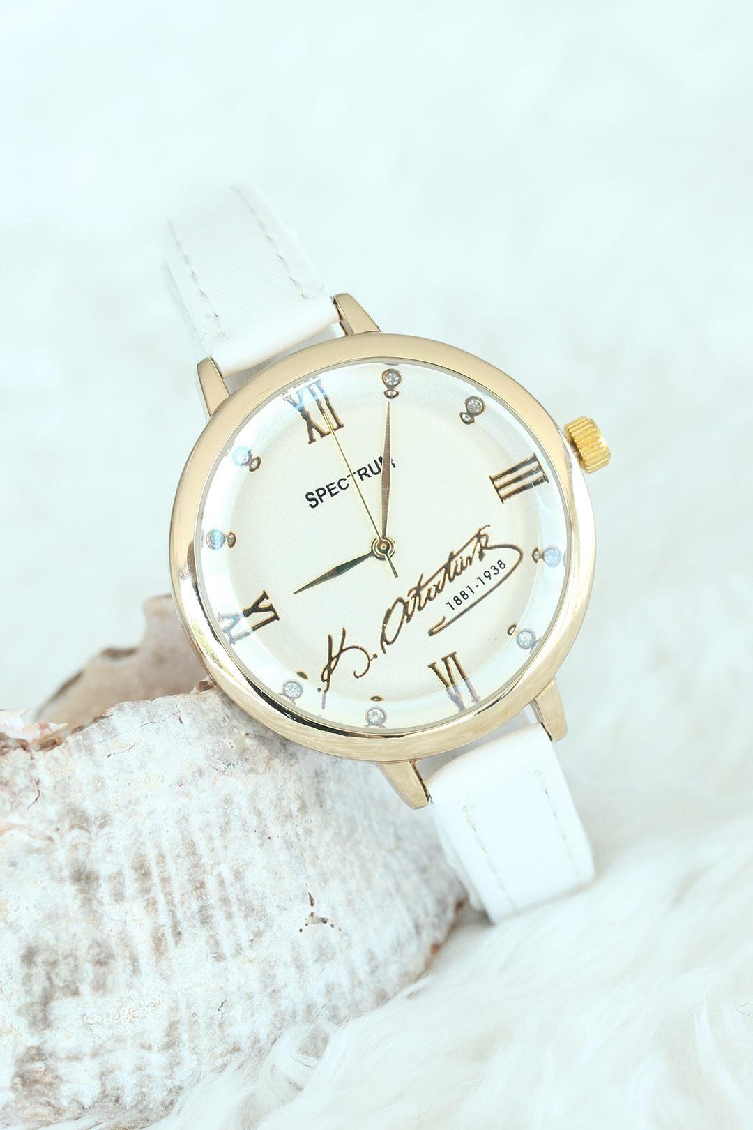 Beyaz Deri Kordon Atatürklü Gold Kasalı Bayan Saat