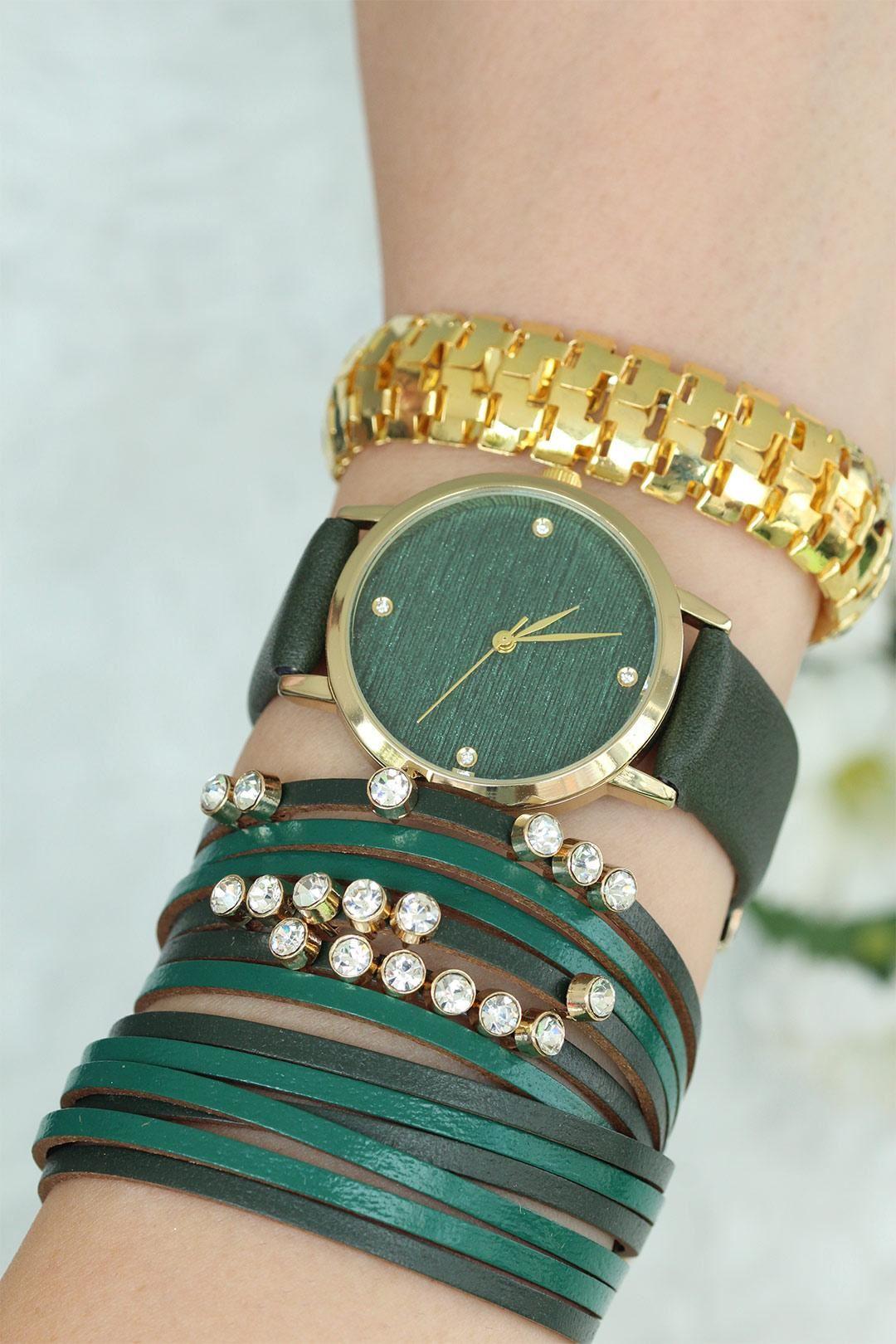 Yeşil Deri Kordonlu Bayan Saat Ve Bileklik Kombini