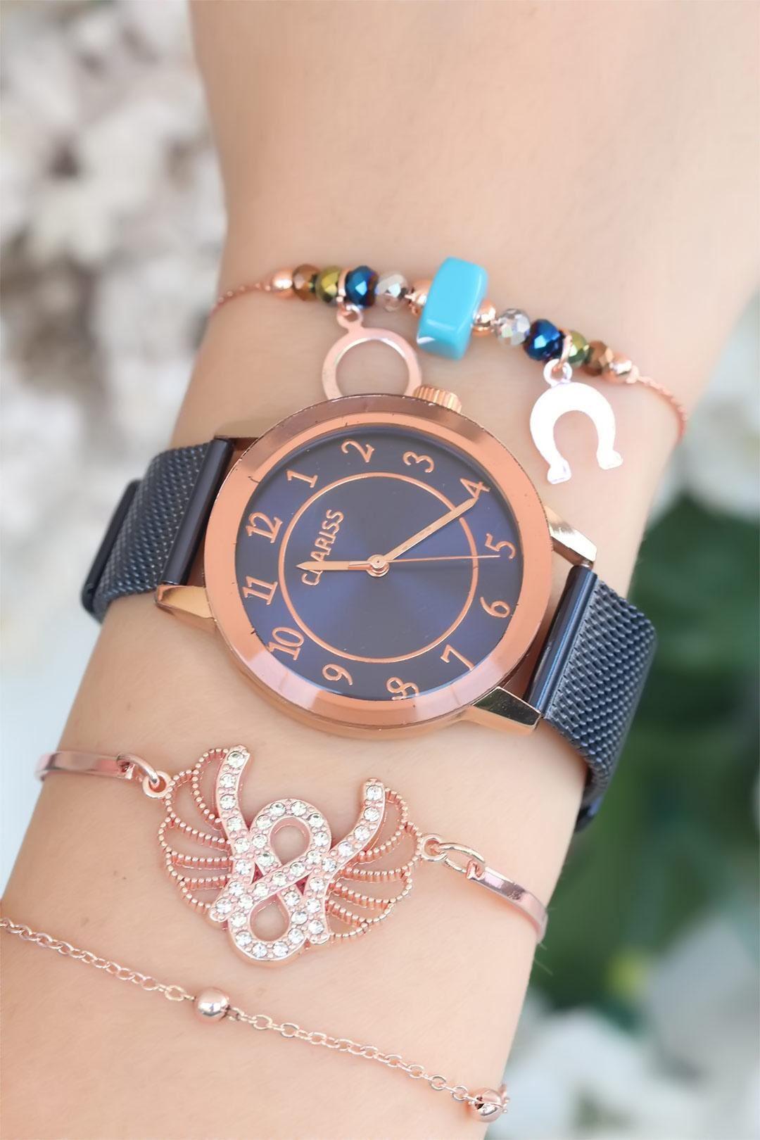 Lacivert Renk Hasır Metal Kordonlu Bayan Saat Kombini