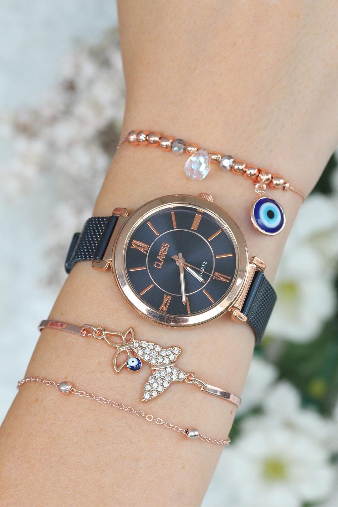 Lacivert Hasır Metal Kordonlu Bayan Saat Ve Bileklik Kombini