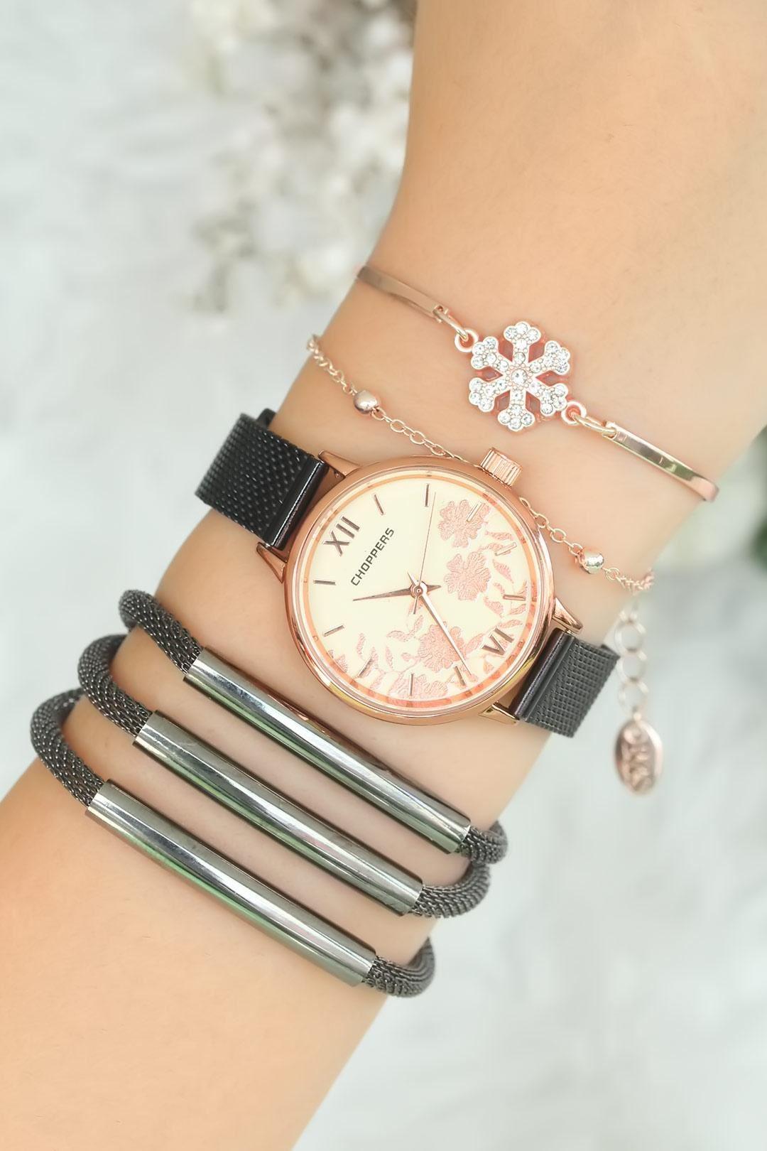Füme Renk Hasır Metal Kordonlu Bayan Saat Kombini