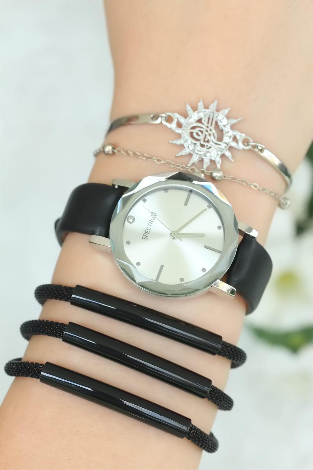 Siyah Renk Deri Kordonlu Bayan Saat Kombini