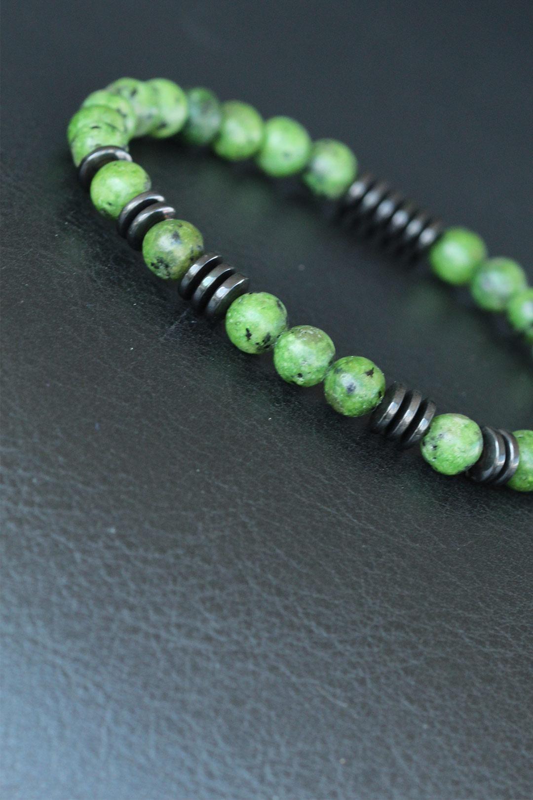 Yeşil Renk Havlit Doğal Taş Erkek Bileklik