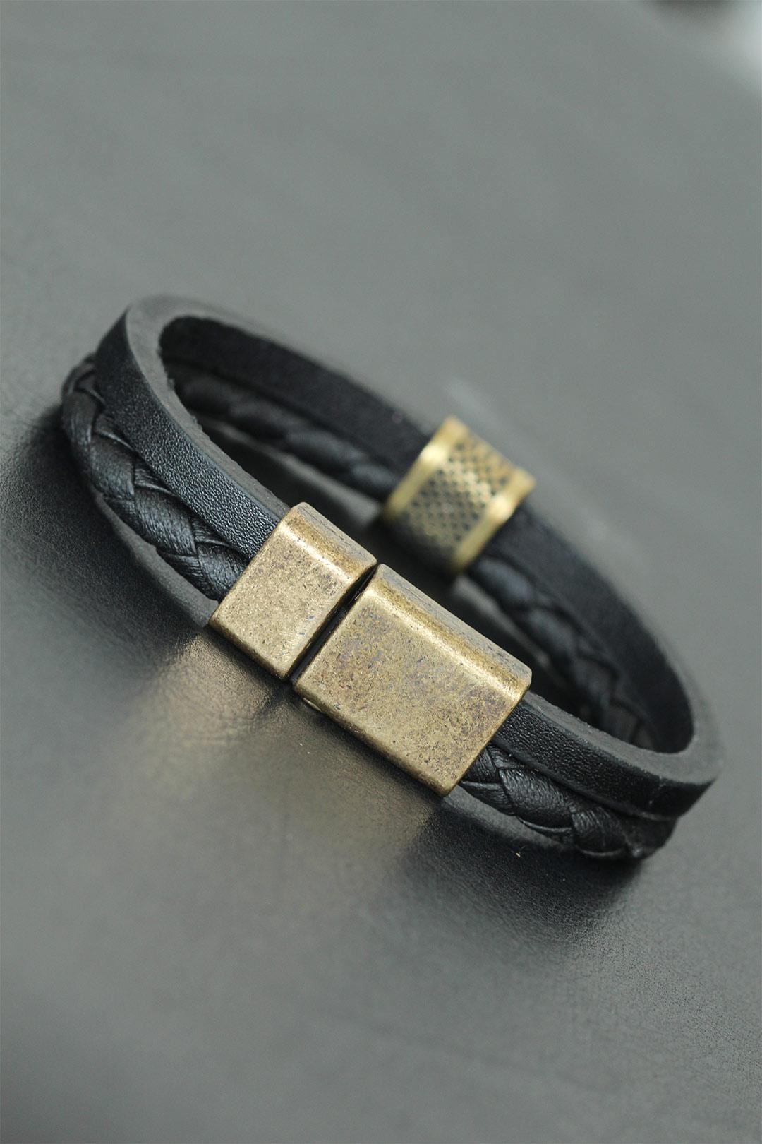 Eskitme Metal Gold Detaylı Siyah Renkli Deri Erkek Bileklik