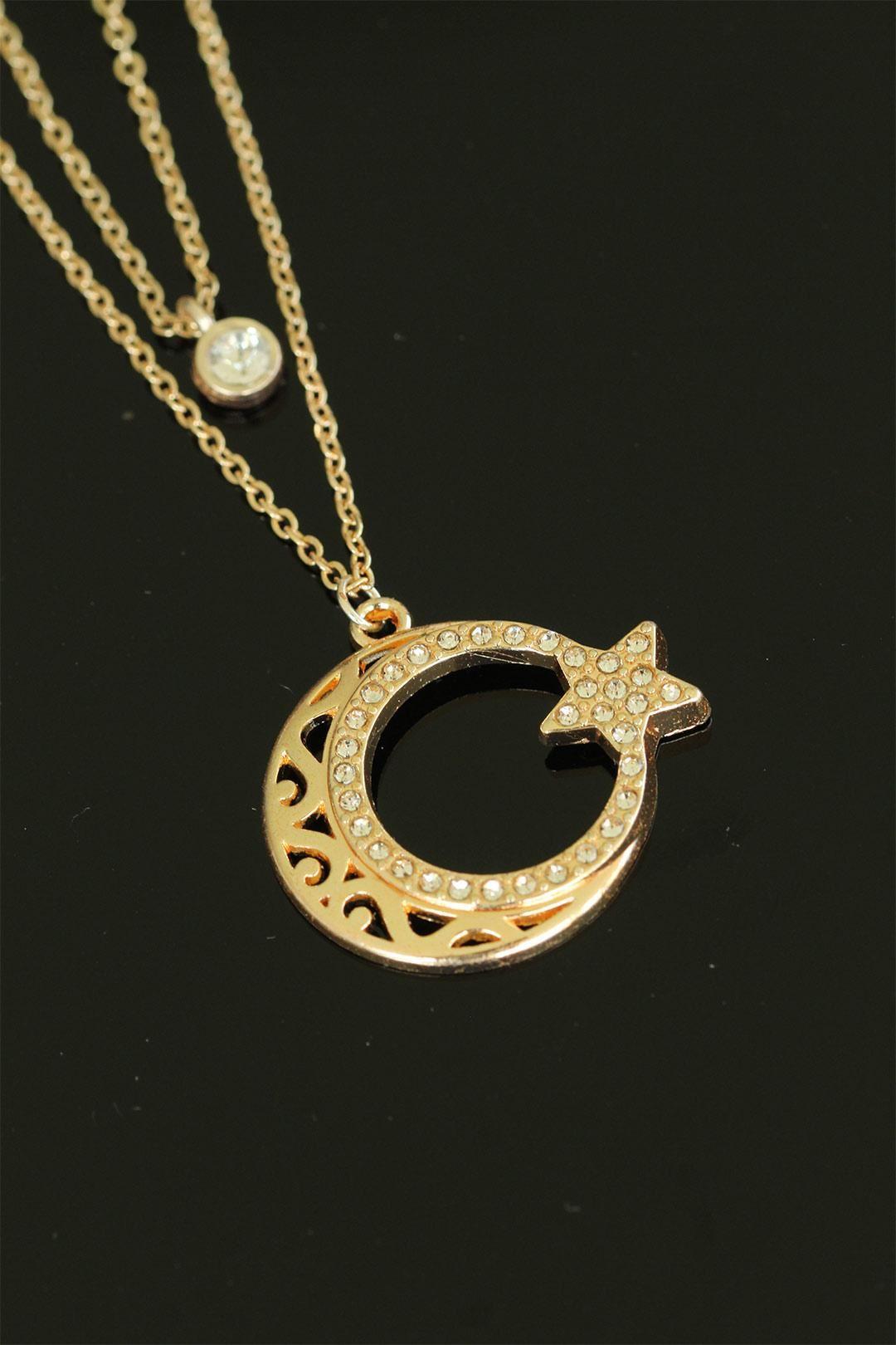 Ay Yıldız Figürlü Gold Renk Zirkon Taşlı Bayan Kolye