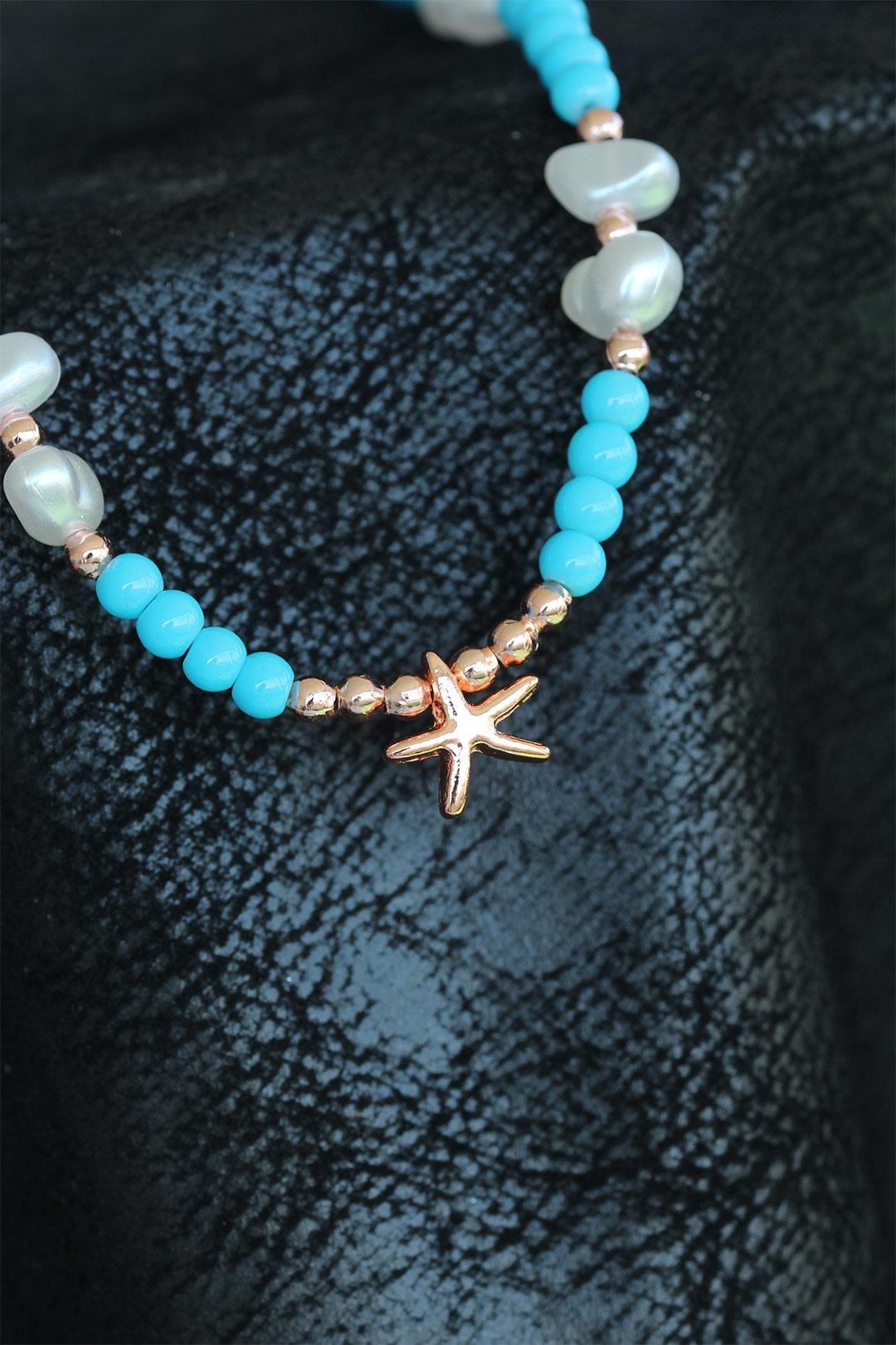 Mavi Boncuklu Deniz Yıldızı Bayan Kolye