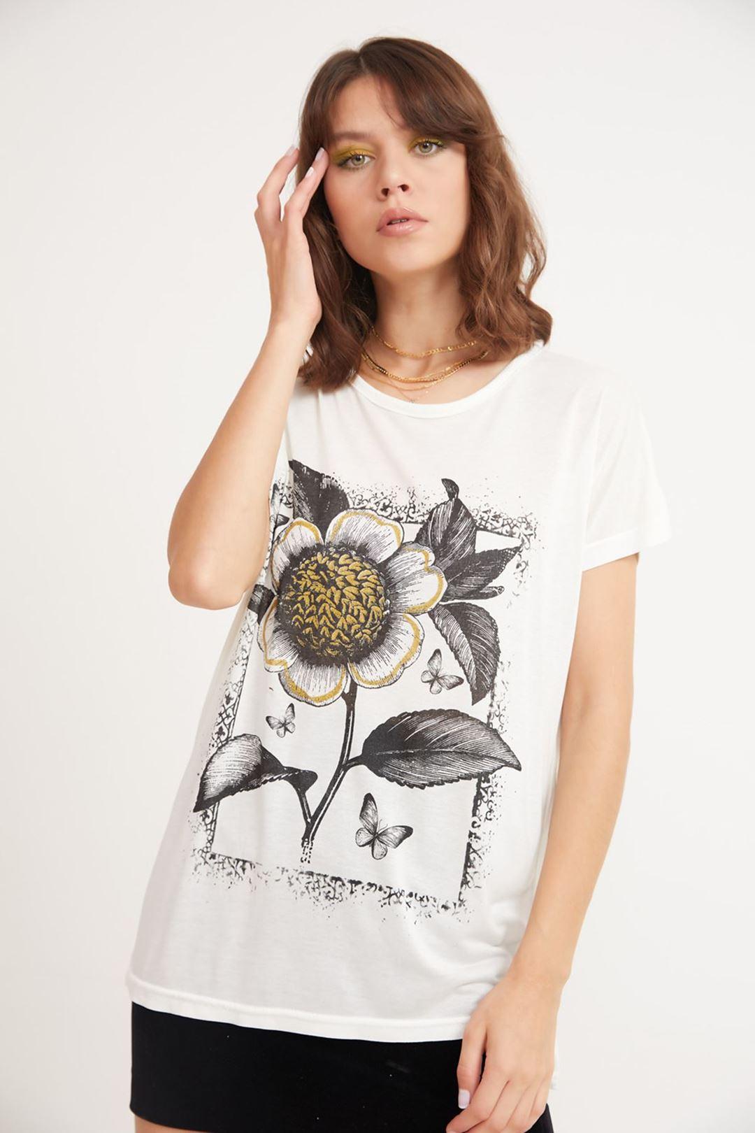 Çiçek Baskılı Bisiklet Yaka T-shirt Krem