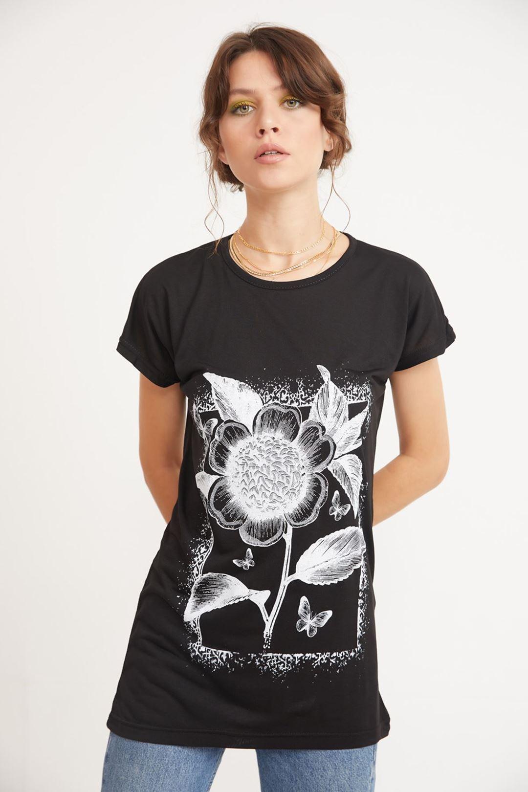 Çiçek Baskılı Bisiklet Yaka T-shirt Siyah